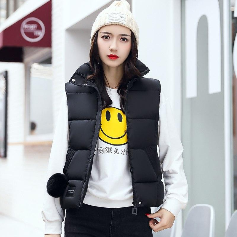 New 2018 Winter Women Vest Waistcoat Female Silm Short Cotton Down Vest Plus Size Soild Color Sleeveless Jacket  feminino XXXL