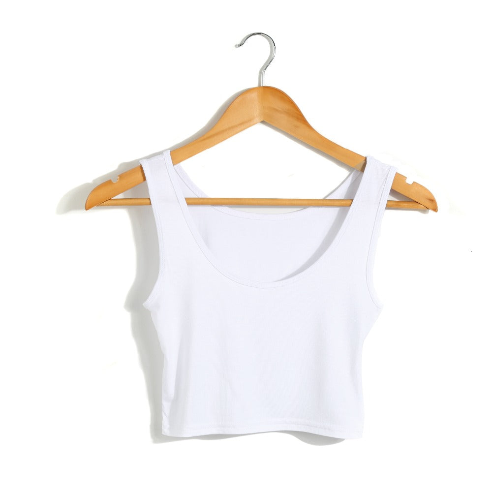 2019 New Female Women Sexy Crop Top Ladies Sleeveless Tank Tops T Shirt Tee Short halter Tops Fashion Summer Basic Stretch Tops