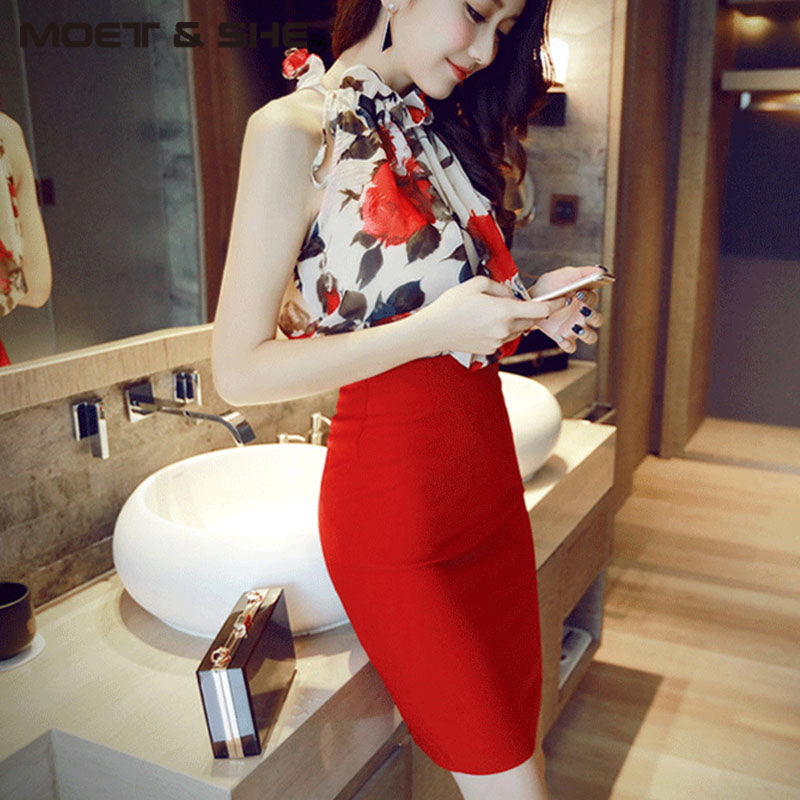 2 Pieces Set Women Chiffon Tops Blouses With Skirt Female Summer Two Pieces Women Suits S728506Y