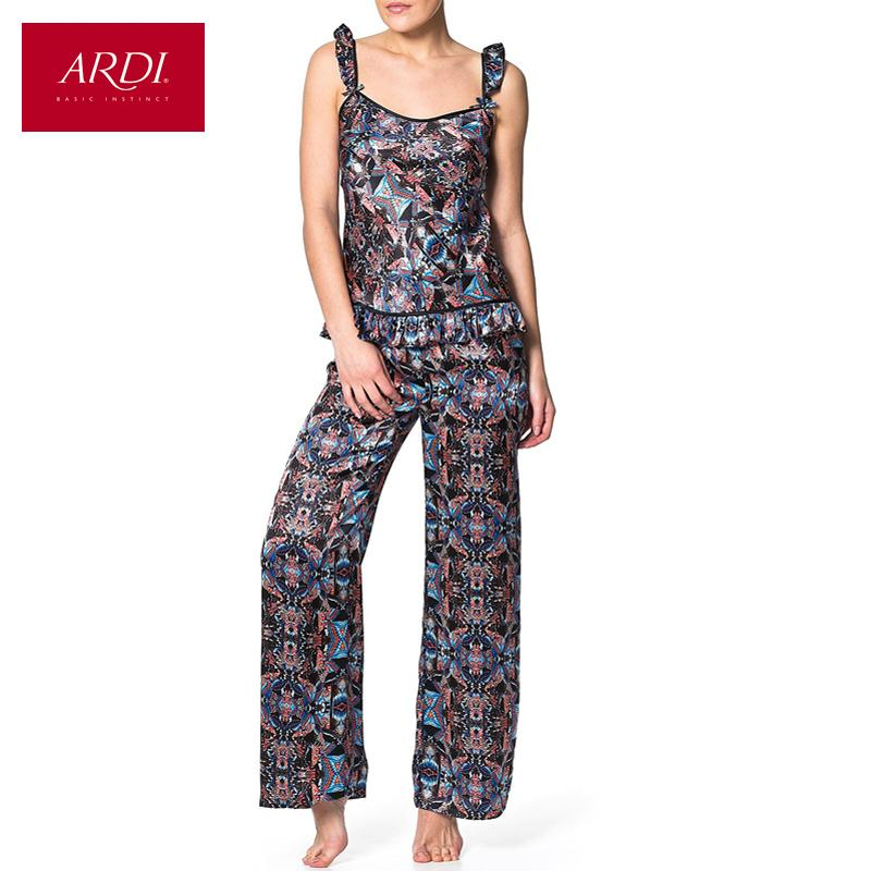 Pajama color Indigo set for women consisting of silk top and silk pants-PANTS-SheSimplyShops
