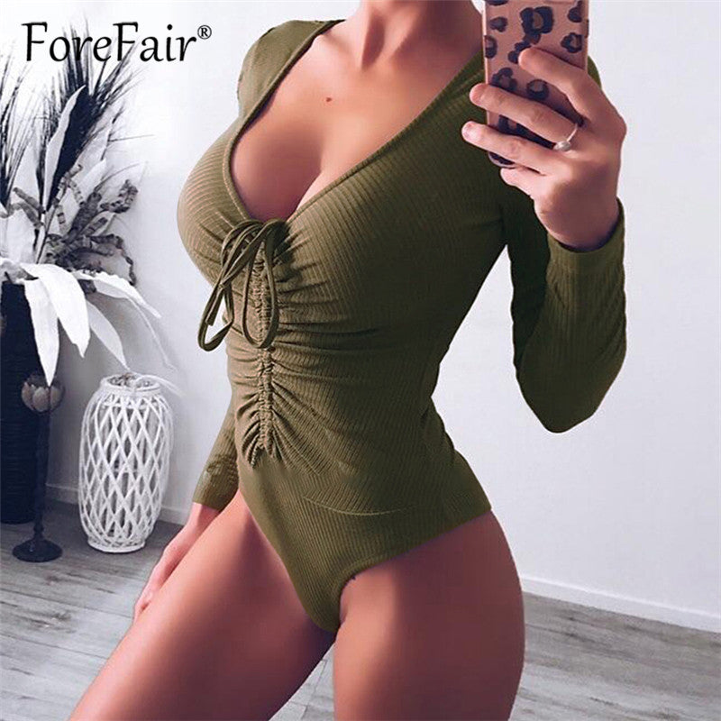 Forefair Slim Black Bodysuit Autumn Winter Rompers Womens Jumpsuits Long Sleeve V Neck Drawstring Ruched Skinny Bodysuits Tops