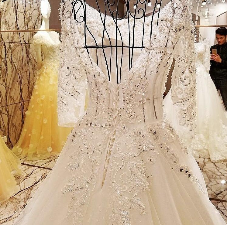 Luxury Sexy Long Sleeves Tulle Wedding Dress White Train Bridal Wedding Gowns-Dress-SheSimplyShops