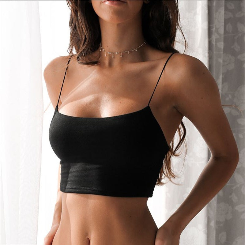 Summer Female Crop Tops Women Sleeveless Straps Tank Top Solid Fitness Lady Camis Casual White Black Top