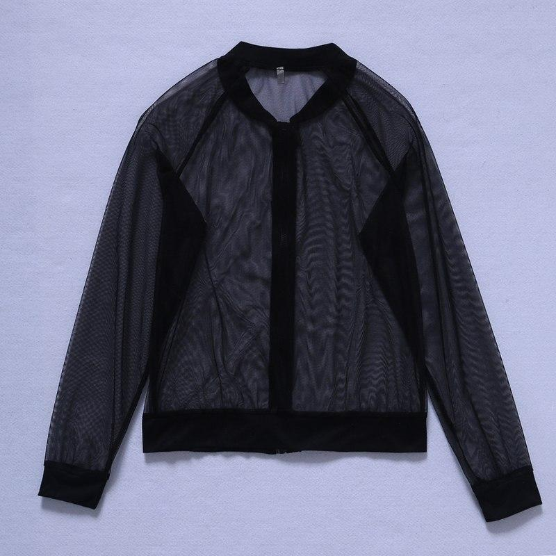 Women Sexy Transparent Mesh Sheer Coat Zipper Blouse Long Sleeve Sheer Jackets Beachwear Coats