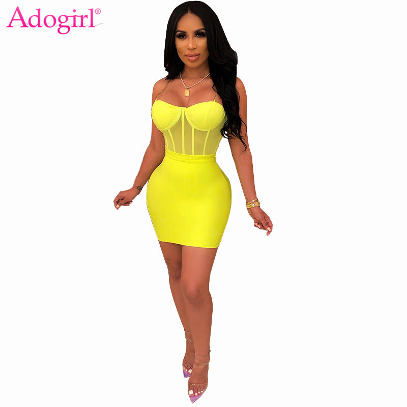 Adogirl Sexy Sheer Mesh Chain Spaghetti Straps Dress Two Piece Set Women Sleeveless Bodycon Mini Night Club Party Dress Vestidos
