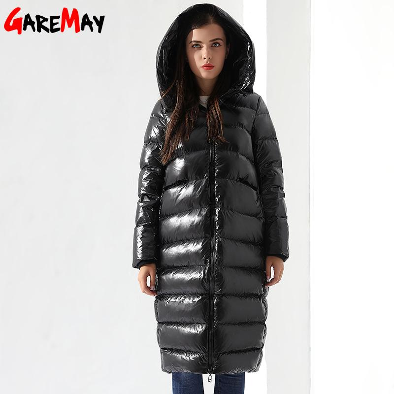Winter Down Jacket For Women Long Feather Jacket Hooded Down Coats Women Parkas Black Outwear Warm Coat-Coats & Jackets-SheSimplyShops