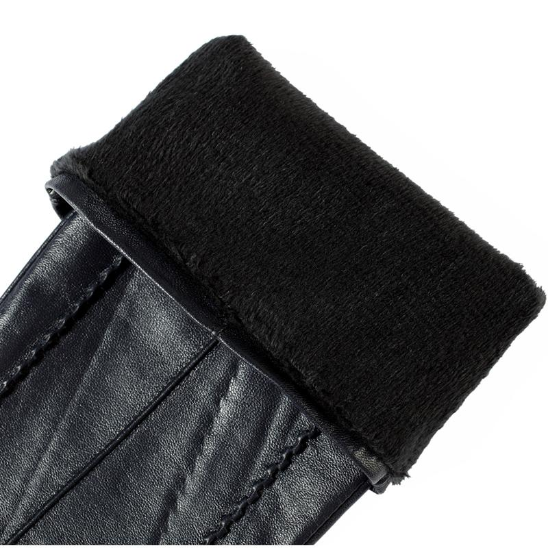 women leather gloves,Genuine Leather,Cotton,Adult,Black,Length 45-48CM, Spandex, leather gloves,Free shipping-GLOVES-SheSimplyShops