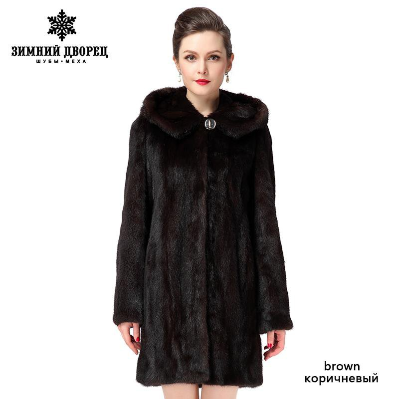 New Style Winter Warm mink coat for women, coats of natural mink brown mink fur coat with a hood-Coats & Jackets-SheSimplyShops