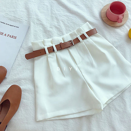 CamKemsey Korean Brief Design White Suit Shorts For Women Solid High Waist Wide Leg Shorts With Belt 5 Colors