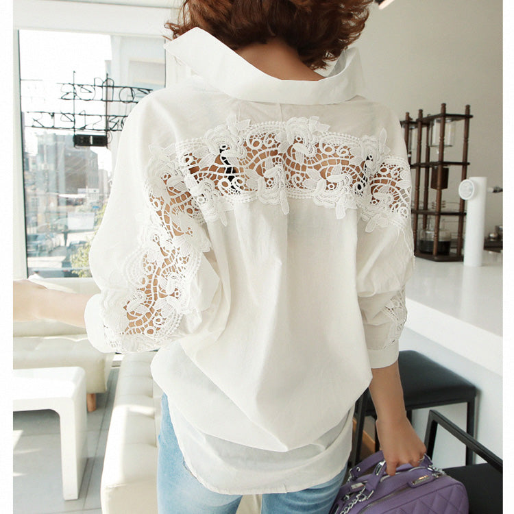 fashion women tops Summer backless sexy Hollow Out Lace Blouse Shirt Ladies casual Loose White office blouse women 1310 40
