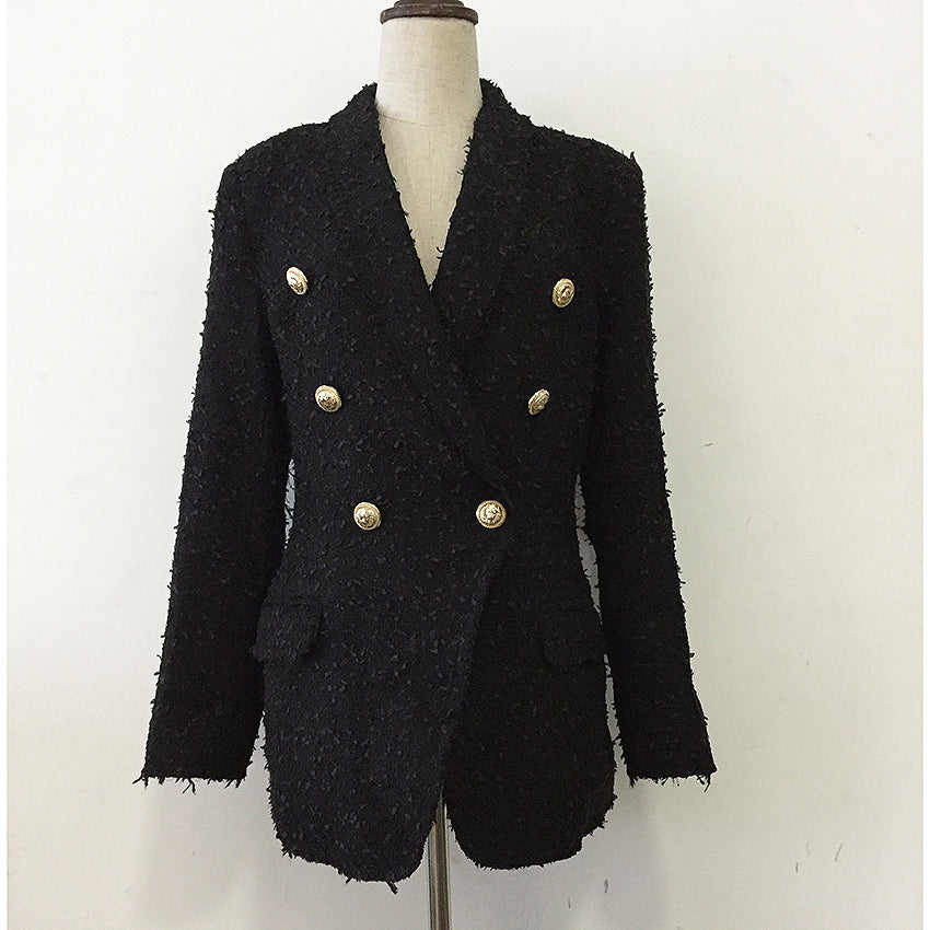 HIGH QUALITY Newest Fashion 2018 Designer Jacket Coat Women's Double Breasted Metal Lion Buttons Tweed Blazer