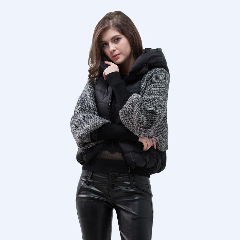 Winter Jacket Women Stand Hooded Parka Fashion Wool Knit Sleeve Coats Duck Down Warm Female Short Jackets-Coats & Jackets-SheSimplyShops