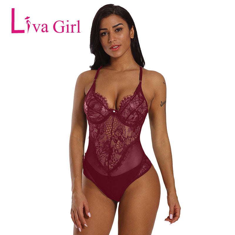Liva Girl Black Sheer Mesh Lace Bodysuit Women Backless Cupped Bodycon Rompers Mujer White Jumpsuits Macacao Feminino