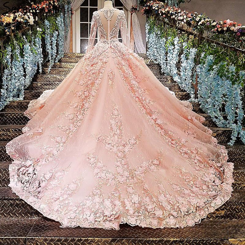 Flowers Lace Wedding Dresses Long Sleeves Princess Luxury Train Bridal Dress-Dress-SheSimplyShops