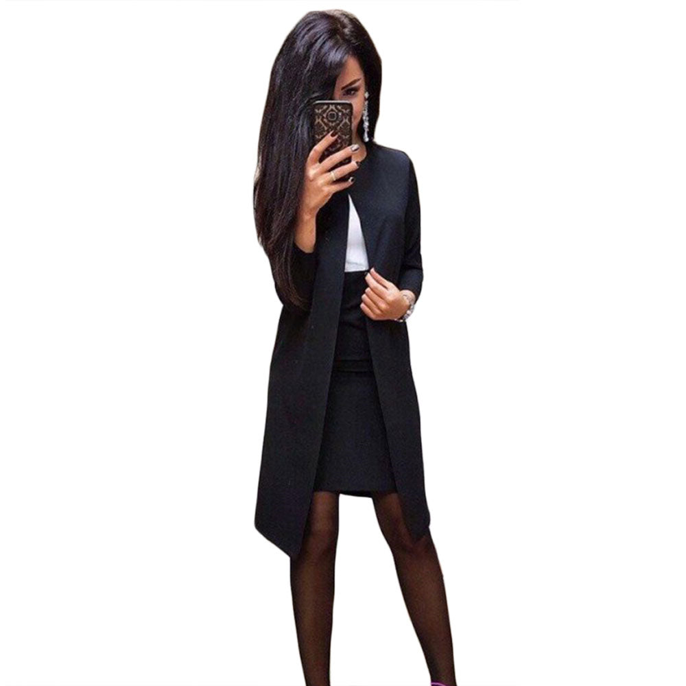MVGIRLRU Office Lady Formal Dress Suits Business Wear Women Long Blazer Jacket+ Sheath Dress 2 Piece Set