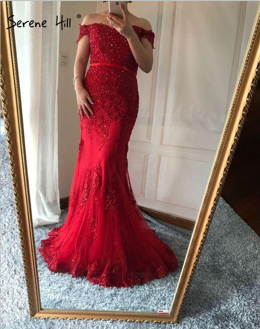 Red Green Mermaid Lace Sexy Diamond Evening Gowns Long Evening Dress For Women-Dress-SheSimplyShops