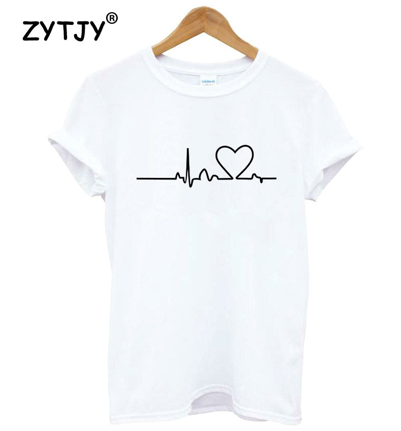 Women Tshirt Heartbeat Love Heart Print Cotton Casual Funny Shirt For Girl Top Tee Hipster Tumblr Drop Ship ZT203-27