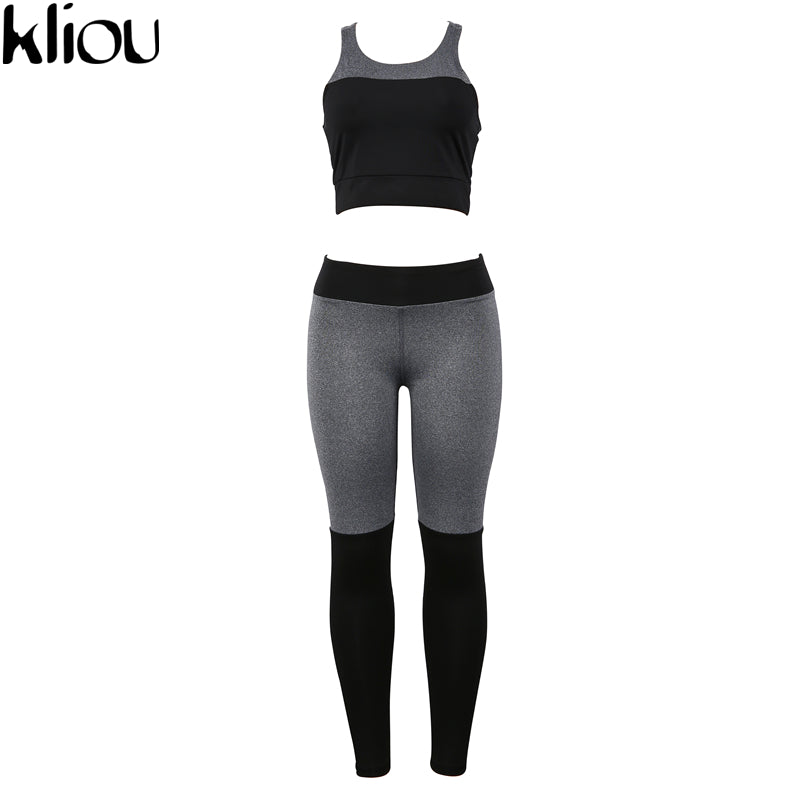 Weirdgirl Casual Sporting Tracksuit Women 2 Piece Set Fitness Clothes Workout Sportswear High Waist Leggings And Bra Suit
