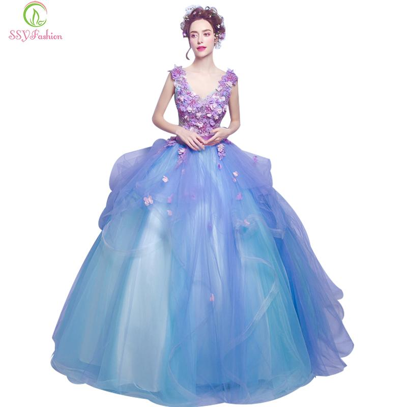 Blue Flower Appliques V Collar Long Dresses Banquet Sexy Party Gown Performance Dress-Dress-SheSimplyShops