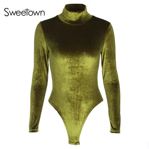Sweetown Velvet Long Sleeve Bodysuit Women Black Elegant Jumpsuit Short Autumn Winter Turtleneck Body Mujer Romper