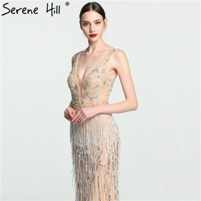 Sexy Deep V Mermaid Gold Tulle Evening Dresses Newest Beading Sequined Luxury Evening Gown-Dress-SheSimplyShops