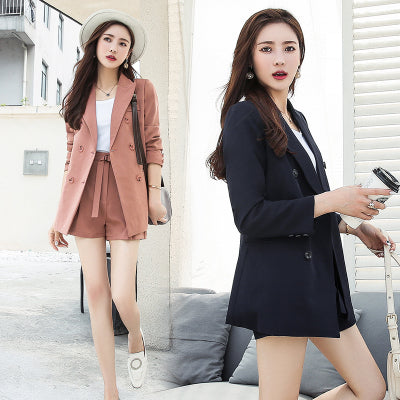 Fashion Elegant Work Business Pants Suits For Women Single Breasted Blazer Jacket And Shorts Two-piece Set Female Office Uniform