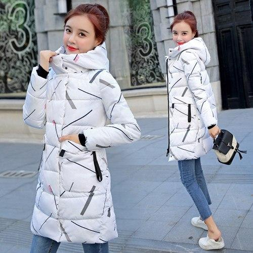 ALMUERK Pattern Winter Long Jacket Women Hooded Fur Parka Oversize Slim Waist Plus Size Coat Hoody Thick Warm Plus Size