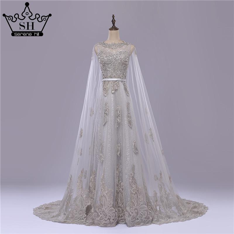 Vintage Grey Long Lace cape with Wedding Dress Appliques Beading Bridal Gown-Dress-SheSimplyShops
