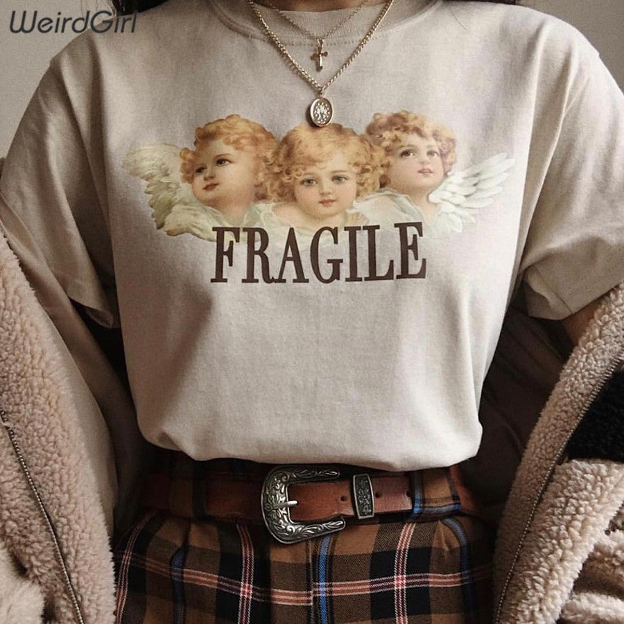Weirdgirl Women Baby Angel Printing Casual Fashion T-shirts letter Short Sleeve O-Neck Khaki Loose Female Tees Summer New 2019