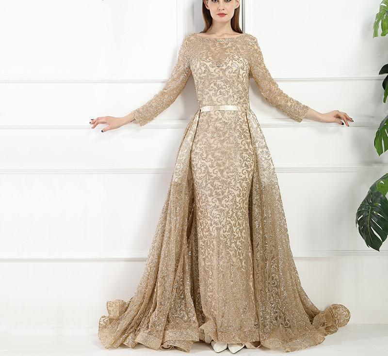 Fashion Mermaid Luxury Evening Dress Long Sleeves Glitter With Train Evening Gowns-Dress-SheSimplyShops