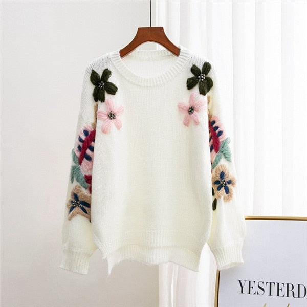 Pearl Winter Sweaters Woman Vintage Elegant Flower Embroidery Loose Pullover Sweater Female Jumper