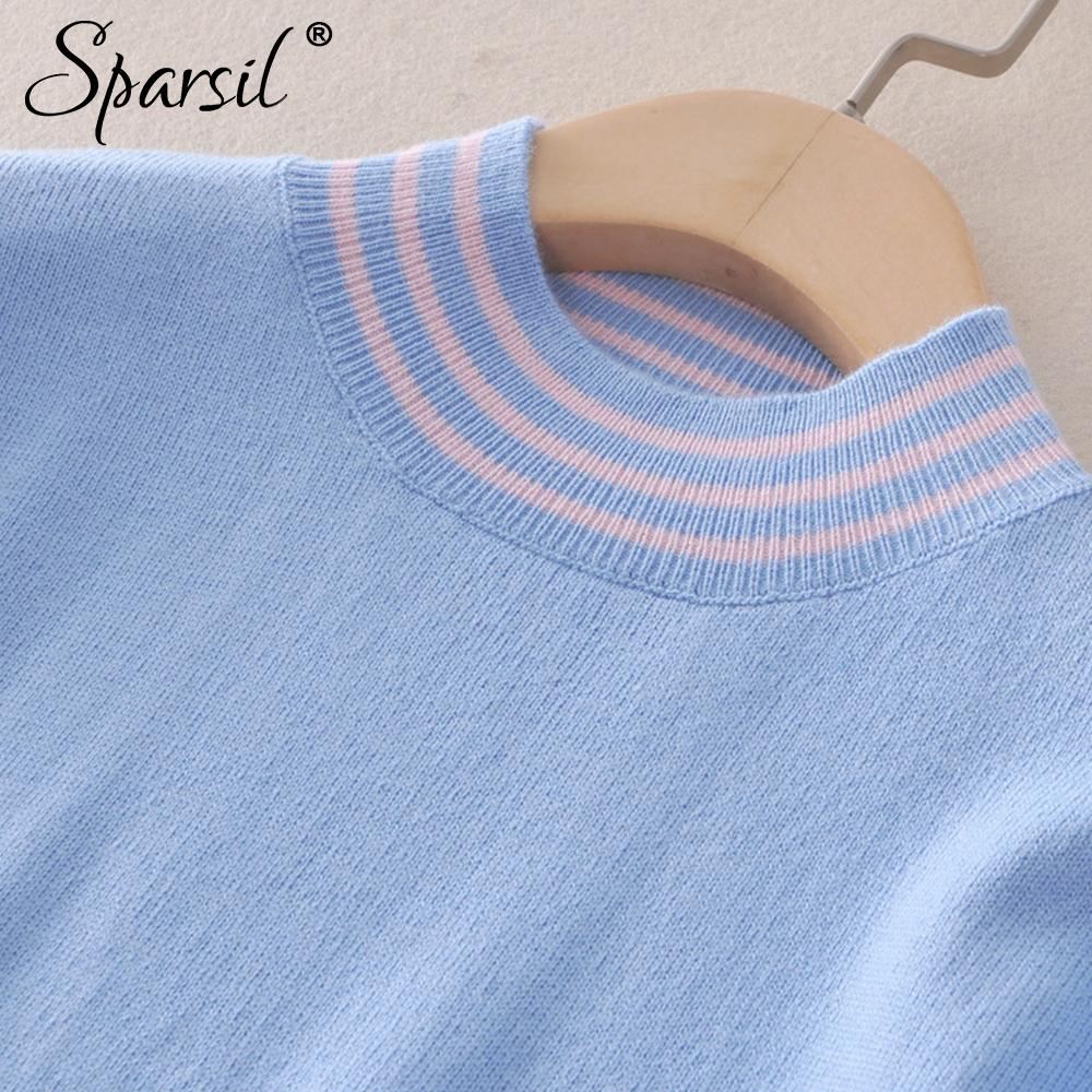 Women Simple Slim Knitted Sweaters Semi-high O-Neck Solid Color Stripes Edged Knit Tops Autumn Thin Soft Sweater-SWEATERS + CARDIGANS-SheSimplyShops