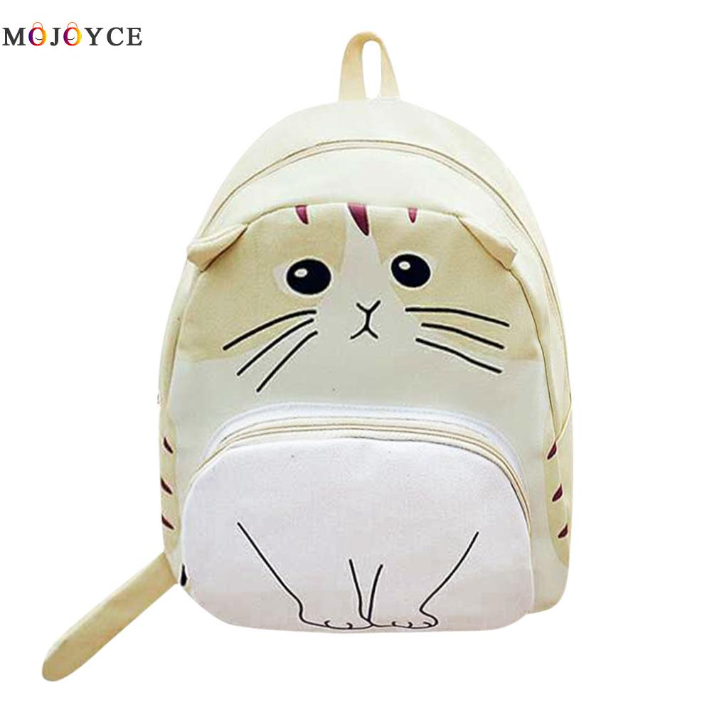 Lovely Cat Printing Backpack Women Canvas School Backpack For Teenagers Ladies Casual Cute Rucksack Bookbags Mochila Feminina