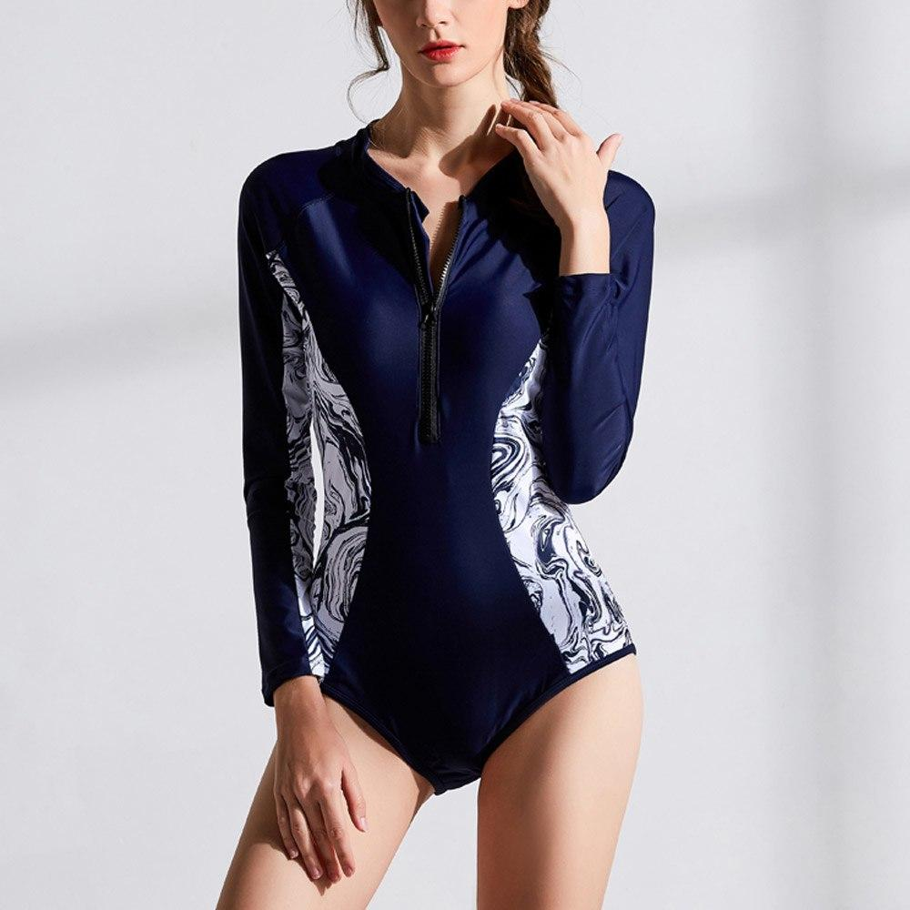 Sexy 2019 One Piece Swimsuit Long Sleeve Swimwear Women Print Floral Bathing Surfing Retro Swim Suits Maillot De Bain Monokini