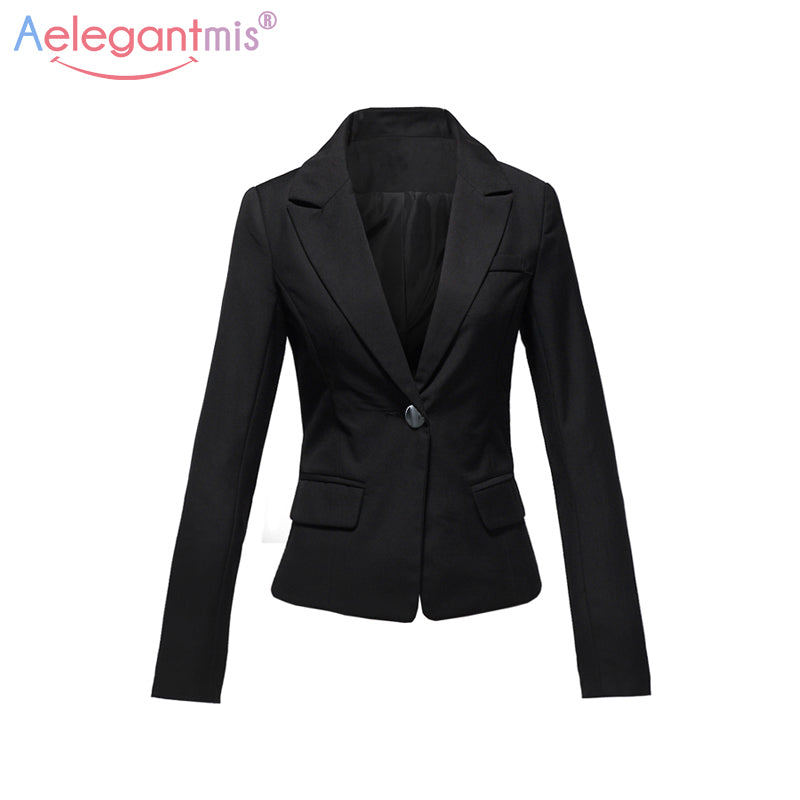 Aelegantmis Spring Autumn Slim Casual Blazers Women Single Button Notched Blazers Black Plus Size Office Lady Work Suit Jacket