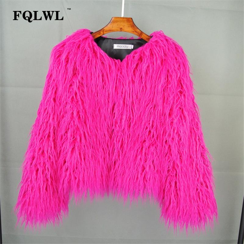Colorful Warm Faux Women Fur Coat Plus Size Black White Pink Plush Coat Female Jacket Fur Autumn Winter Shaggy Outerwear