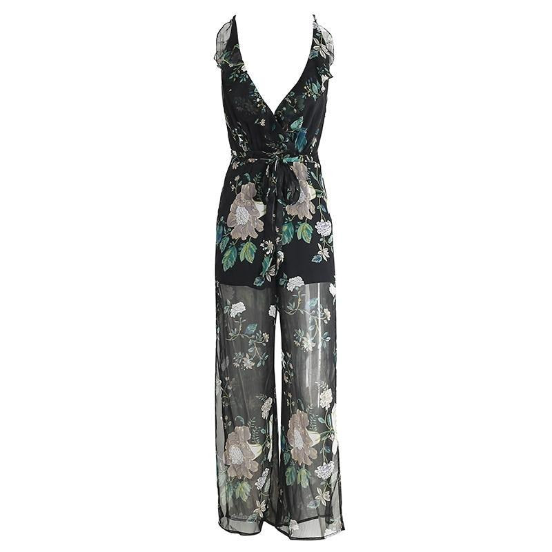 Sexy V neck print flower women jumpsuit romper ruffle chiffon summer overalls Backless high waist split-ROMPERS & JUMPSUITS-SheSimplyShops