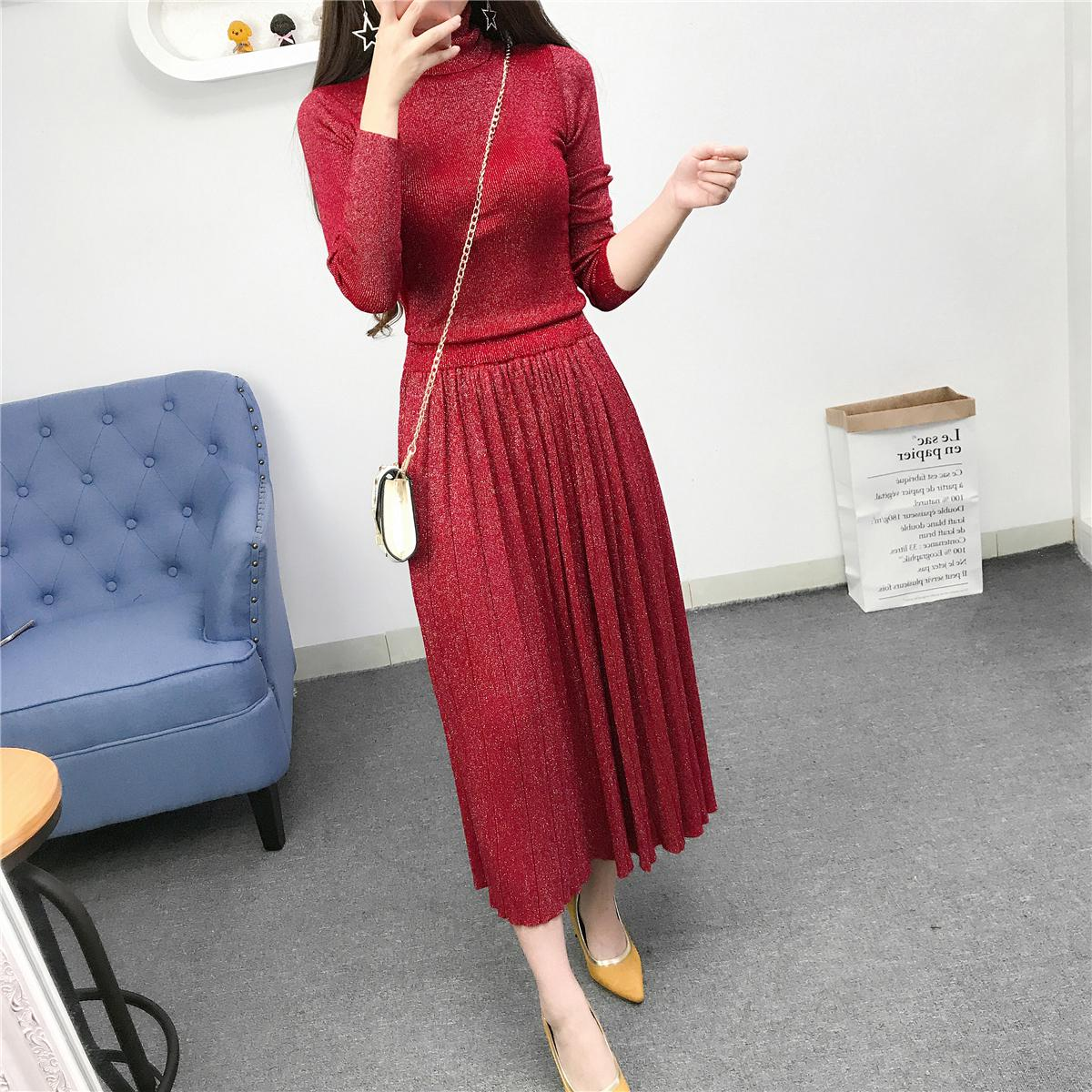 Auutmn Winter Two Piece Sets Women Elegant Turtleneck Sweater + Pleated Skirt Twinset Suits Woman Knitted 2 Pcs Set