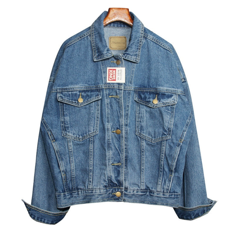 Vintage Women Jacket Autumn Winter Oversize Denim Jackets Washed Blue Jeans Coat Turn-down Collar Outwear Bomber Jacket
