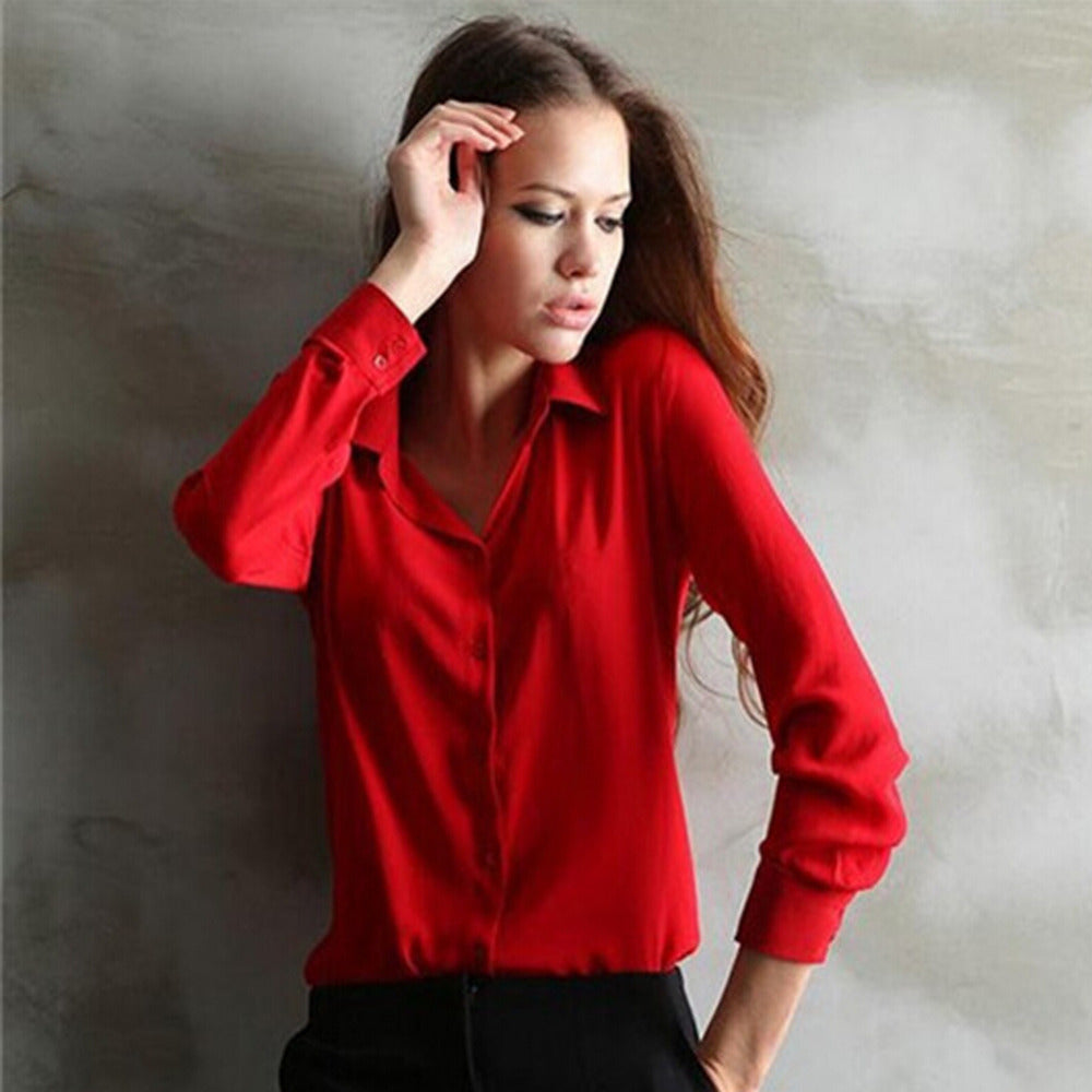 Women Blouses Direct Selling Button Solid 2016 Autumn New Long-sleeve Shirt Female Chiffon Women's Slim Clothing