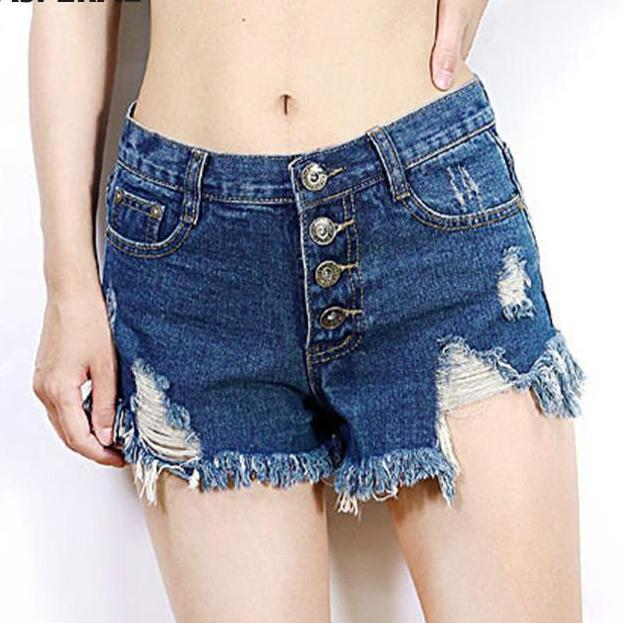 Sexy Hole Ripped Denim Shorts Women Vintage Buckle Tassel Shorts Jeans For Girls Summer Fashion Short-JEANS-SheSimplyShops