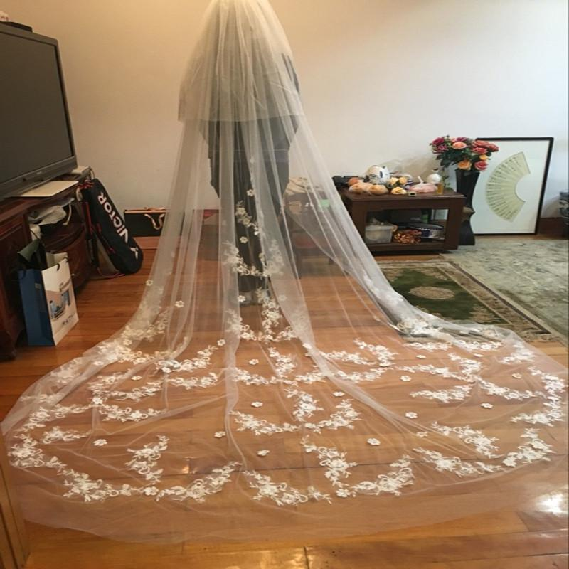 Luxurious Lace Flower Wedding Veil 3M Long Tail Appliques Romantic Sweet Bridal Veils Wedding Accessories-ACCESSORIES-SheSimplyShops