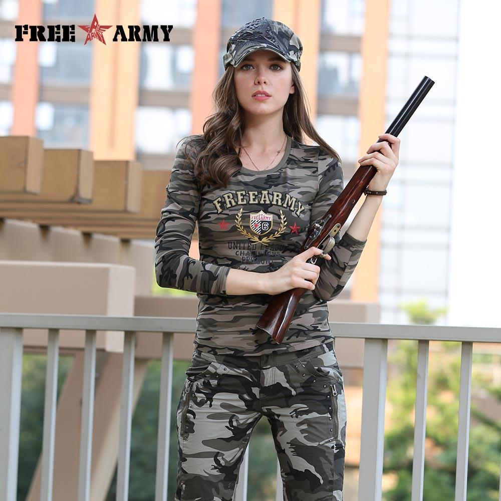 Long Sleeve Women Cotton Printing T Shirts Women Tops Tees Military Slim Spandex Casual Camo Shirt-SHIRTS-SheSimplyShops