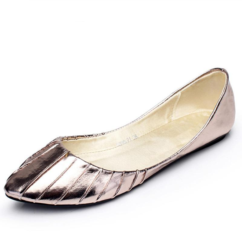 Gold Silver Comfort Leather Slip On Fashion Casual Pleated Ballet Flats Shoes-SLIPS-SheSimplyShops