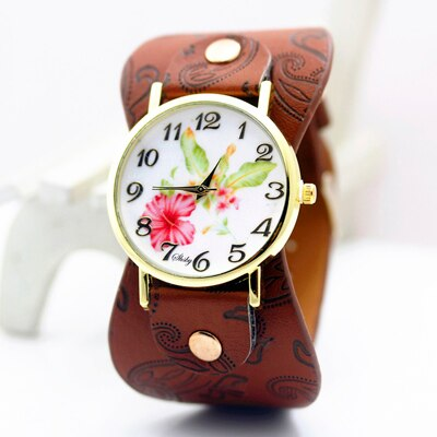 shsby Printed leather Bracelet Wristwatch Wide band Dress Watch with flowers Women Casual Watch girl's gift