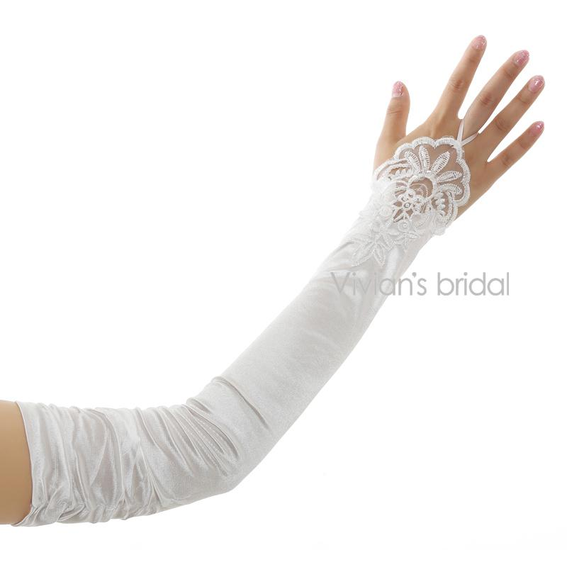 Cheap Long Opera Length White/Red Fingerless Lace Wedding Gloves For Wedding Accessories-GLOVES-SheSimplyShops