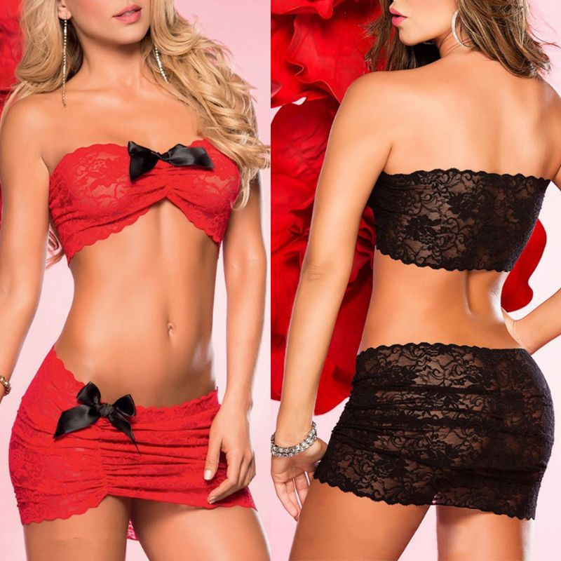 Womens See Through Lace Bowknot Lingerie Strapless Bandeau Tube Top Short Skirt Set W77