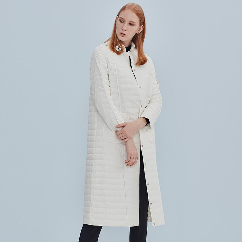 Thin Long Down Coat Fashion Stand Collar Loose Jacket Down Outerwear White Duck Down-Coats & Jackets-SheSimplyShops