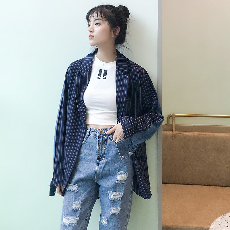 [EAM] 2020 New Spring Striped Denim Patchwork Turn-down Collar Single Breasted Loose Coat Women Fashion Tide LC008