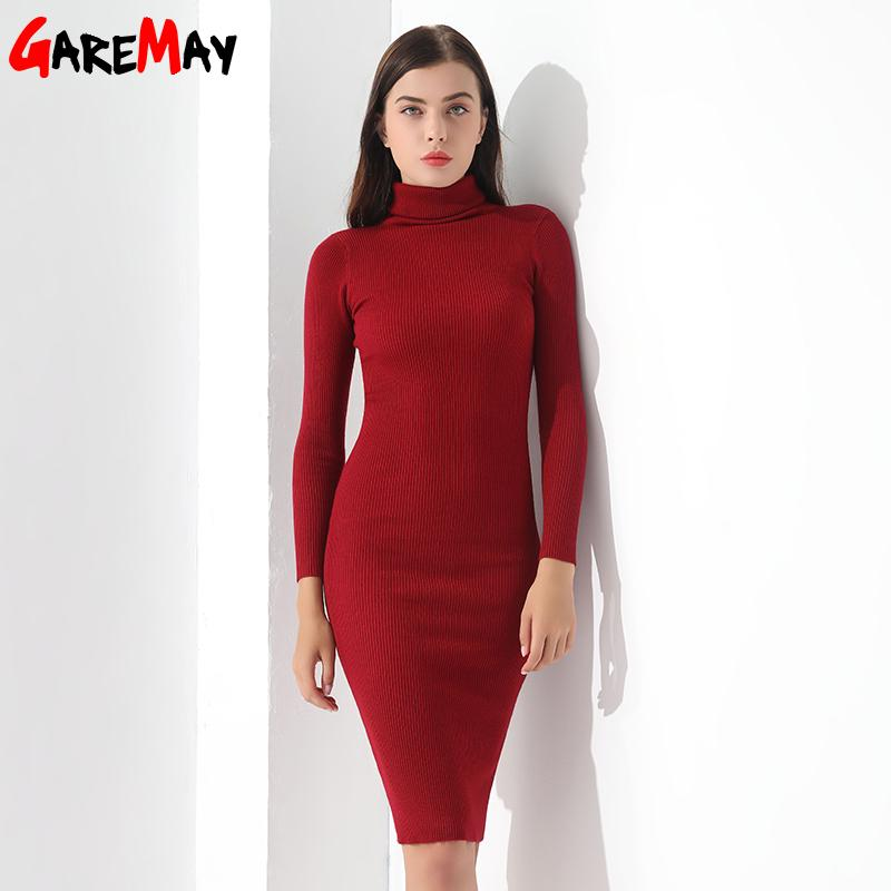 Sweater Dress Women Knitted Winter Long Sleeve Robe Femme Black Dress Warm Autumn Women Clothing-Dress-SheSimplyShops